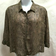 Chicos Design 3 XL Top Brown Ethnic African Semi Sheer Button Long Sleev... - $19.58
