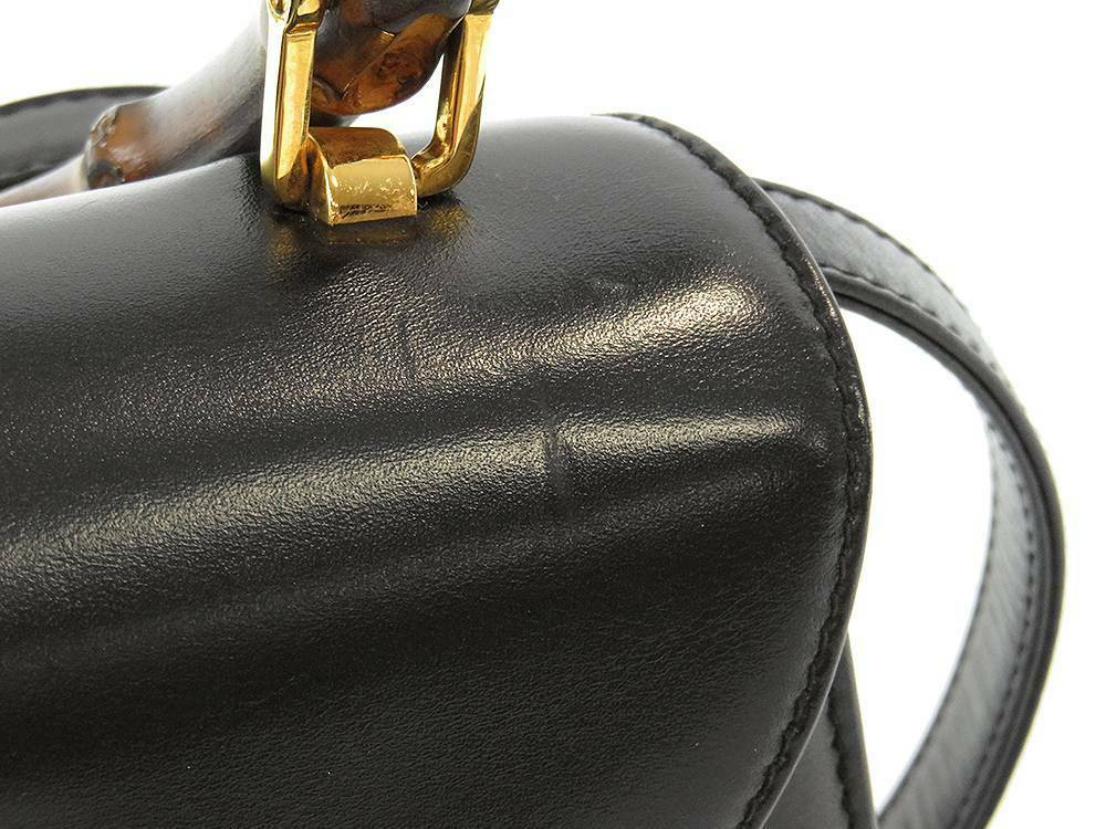 GUCCI Bamboo Handbag Leather Black 000 46 0188 2way Shoulder Bag Italy Authentic