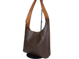 Authentic CELINE MACADAM PVC Canvas Leather Brown Shoulder Bag CS9641L - $139.00