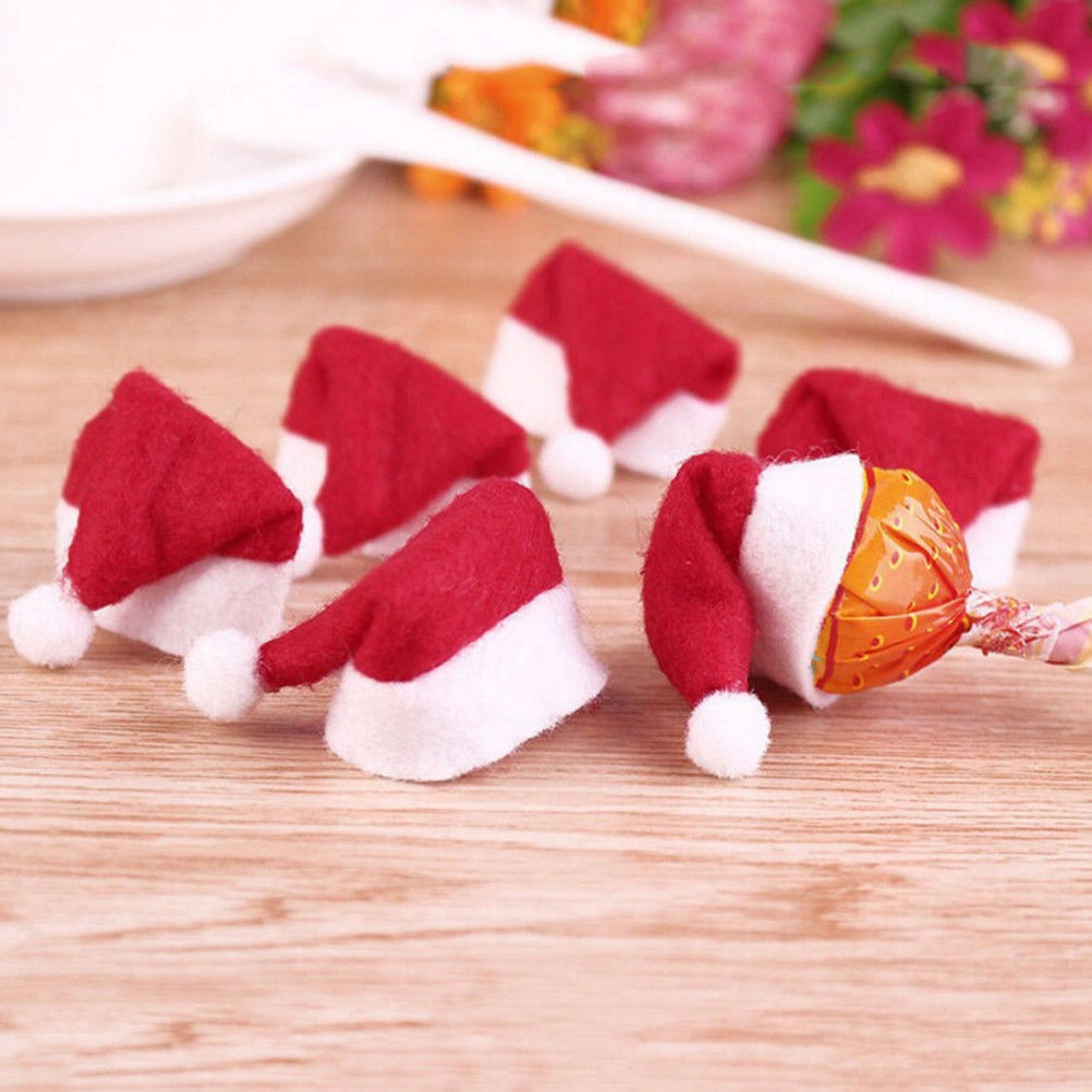 Santa Claus Hat Mini 30Pcs Christmas Decor Xmas Lollipop Topper Holiday Kid Gift