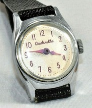 VINTAGE 1950'S US TIME DISNEY CINDERELLA WIND-UP WATCH WITH NEW LEATHER ... - $39.59