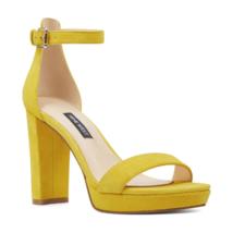 Nine West Women Strappy Sandals Dempsey Yellow Suede - $44.94