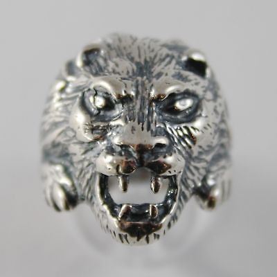 925 SILVER RING BURNISHED WITH HEAD OF LION WITH FINISHES SATIN
