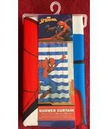 "Marvel Spiderman Fabric Striped Shower Curtain 72x72"" Kids Bathroom Deco... - $16.99"
