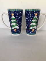 Lot of 2 Christmas Mugs Evergreen Star Snow Blue White Winter Tea Coffee... - $19.75