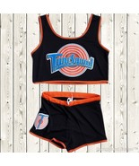 Space Jam Tune Squad Ladies Set Girls Jersey & Shorts Stitched Retro Bla... - $26.49