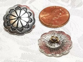 DECORATIVE BUTTON With SCALLOPED EDGE FINE PEWTER BUTTON 19x19x8mm; Hole 2.4mm image 2