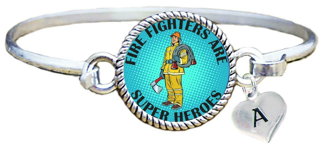Firefighters are Super Heroes Silver Cuff Bracelet Fireman Jewelry Pick Initial - $14.24