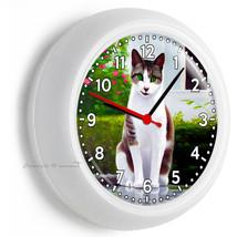 Green Eyes Smiling Cat Kitten Kitty Wall Clock Living Room Kitchen Office Decor - $21.05