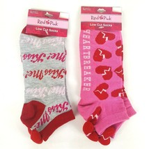 Set of 2 Valetine's Day Low Cut Socks Sz 9-11 Hearts Love Red Pink Pom P... - $10.39