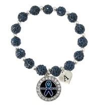 Custom Colon Cancer Awareness Blue Bling Bracelet Jewelry Choose Initial Family - $13.80+
