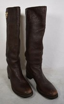 Prada Womens Pebbled Leather Knee High Boots Brown 38 Italy - $445.50