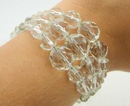 VTG Silver Tone Clear Faceted Aurora Borealis Crystal Bead Stretch Cuff Bracelet - $29.70