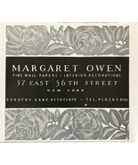 1936 Margaret Owen Fine Wall Papers Interiors NYC Print Ad Dorothy Kane ... - $8.75