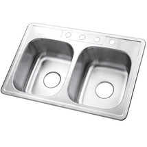 Gourmetier Studio GKTD33227 Self-Rimming Double Bowl Kitchen Sink, Satin Nickel - $89.52