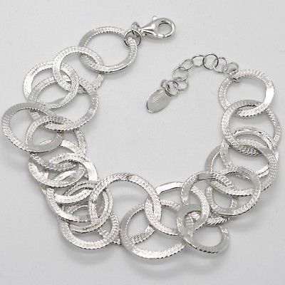 SILVER 925 BRACELET WITH CIRCLES WORKED BY MARY JANE IELPO, MADE IN ITALY