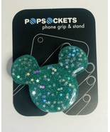 Mickey Mouse Popsocket Turquoise Glitter With Stars Design. Phone Holder... - $26.51