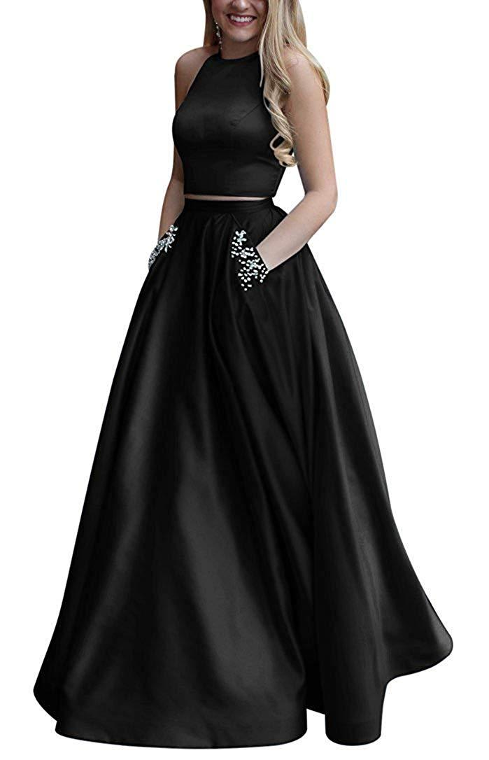 Two Piece Satin Beaded Prom Dress Long A Line Open Back Evening Gown with Pocket