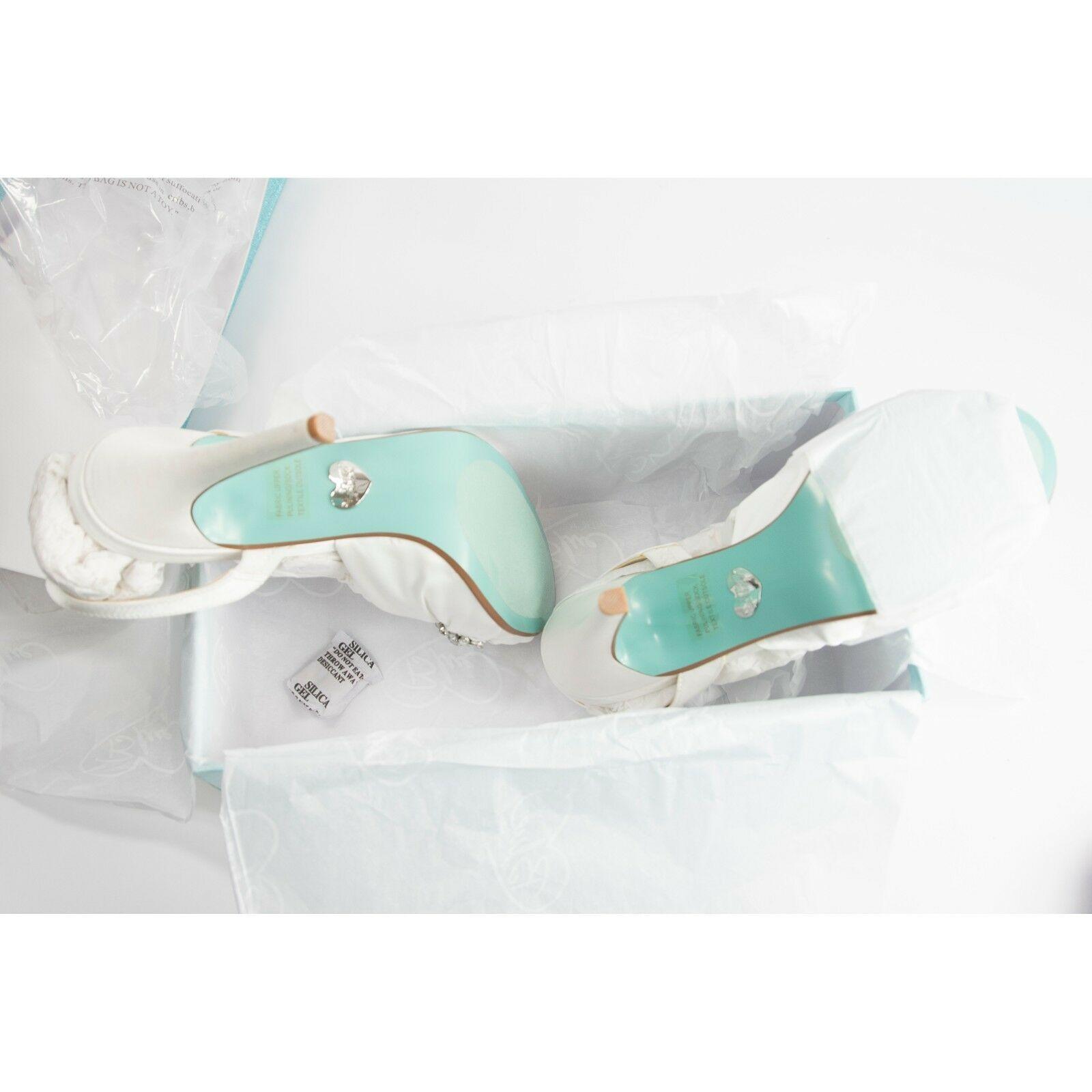 Betsey Johnson Briel Ivory Satin Crystal Wedding Heel Pumps Sandals 7.5