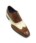 Bespoke Men Spectator Two Tone Brown White Formal Leather Shoes - $159.97+
