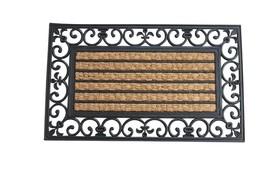 Fleur De Lis Striped Coir and Rubber Door Mat  - $25.82