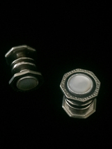 Vintage 20s Silver Octagon Snap Link Mother of pearl and celluloid cufflinks image 3