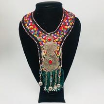 Vintage Turkmen Choker Necklace Pendant on Hand Sawn Soft Fabric Handmade,TN213 - $24.00