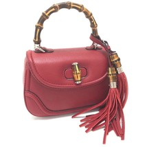 AUTHENTIC GUCCI Fringe New Bamboo Hand Bag 2way bag Red Leather 269769 - $1,415.00