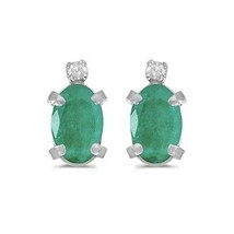 Oval Emerald and Diamond Studs Earrings 14k White Gold (0.90ct) - $278.19