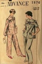 VTG1950s Sewing Pattern Advance #5876 Pajamas Size 16 Bust 34 - $21.84