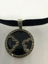 Vintage Déco Argent Sterling Véritable Onyx Noir Marcassite Collier Tour... - $118.80