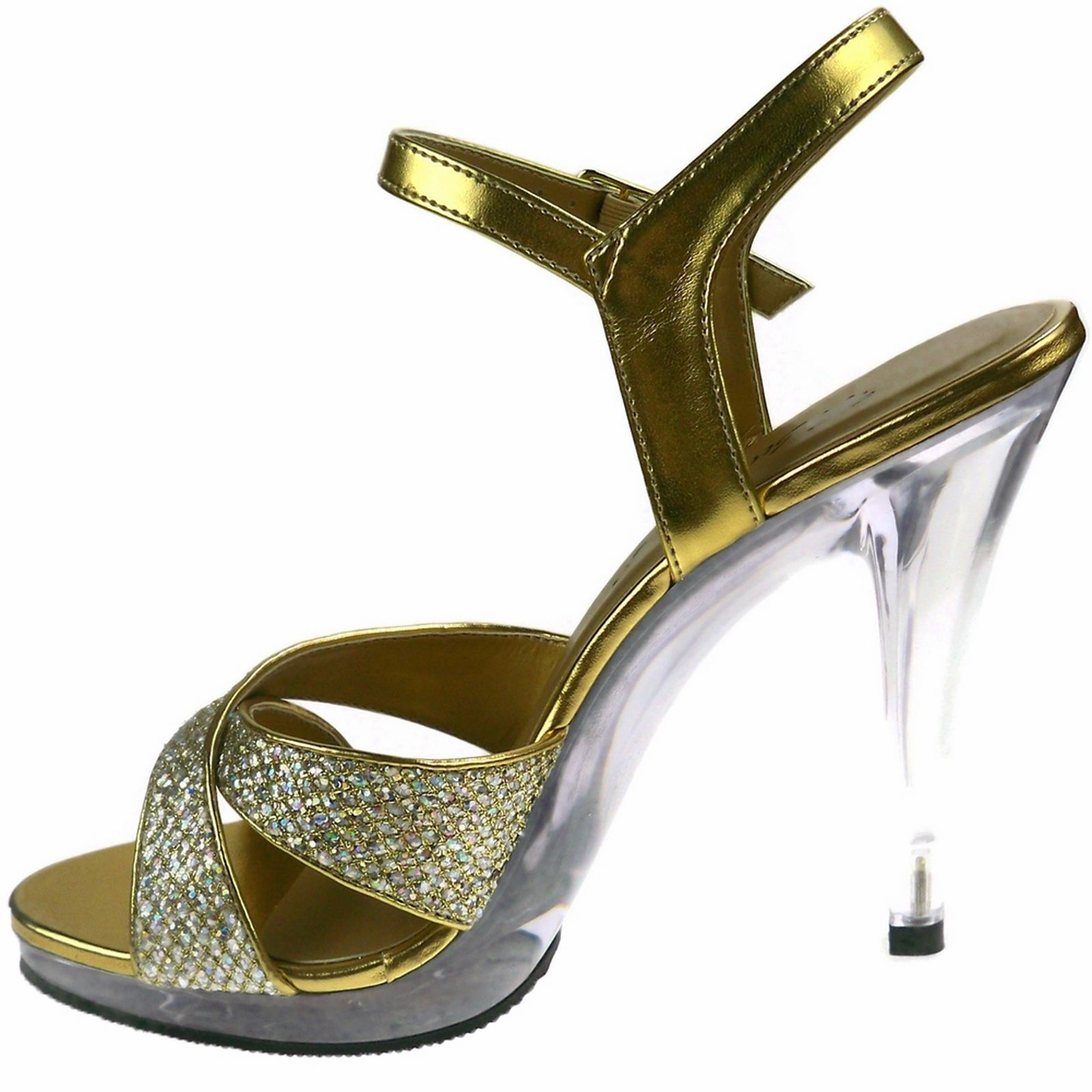 PLEASER Sandals Crisscross Glitter Platform Clear High Heels FLAIR-419G Gold