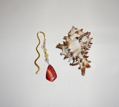 Burnt Orange Agate, Gold Zig Zag Bookmark, Natural Gift Ideas, Agate Charm - $11.00
