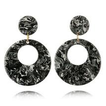 Fashions Acrylic Dangle Earrings For Women Big Round Pattern Push Back C... - $5.98