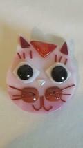 "2.25""UNIQUE VINTAGE ARTISAN PINK GLASS CAT KITTEN BROOCH PIN,3D,ARTSY,GE... - $9.89"