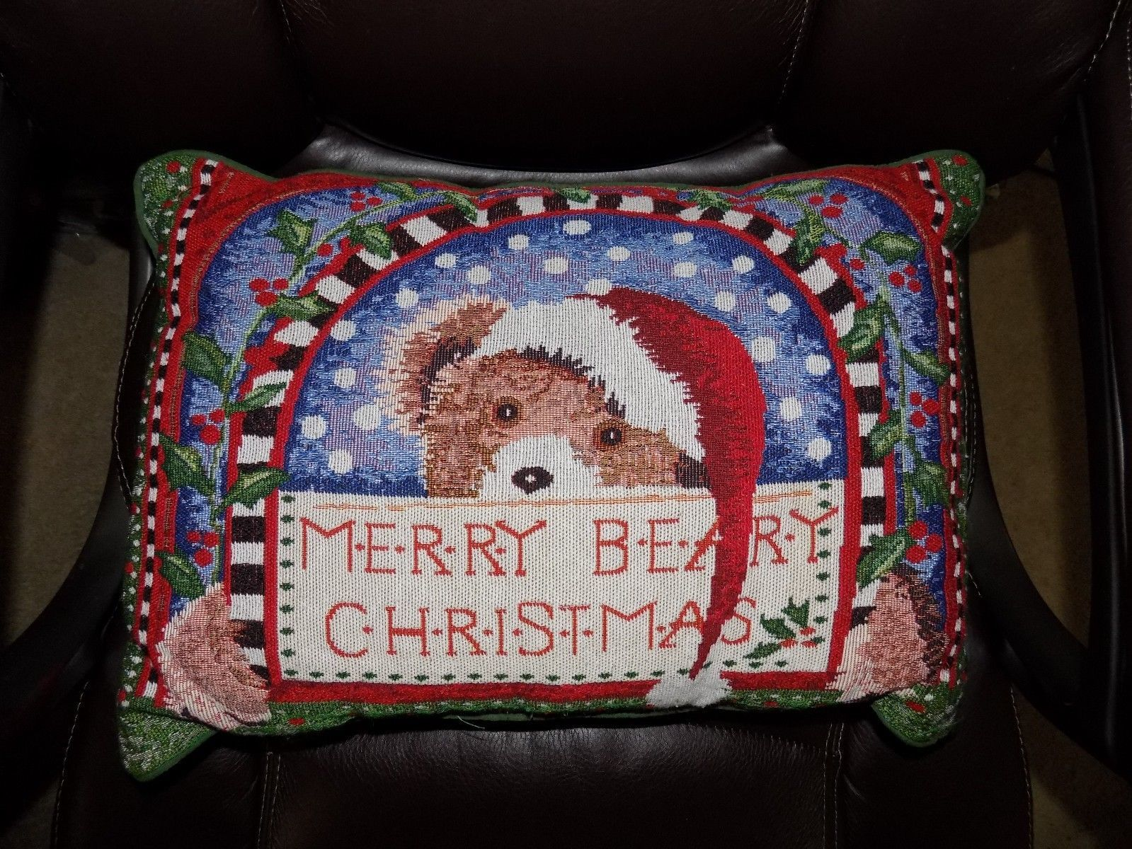 Primary image for Xmas Christmas Merry Beary Chirstmas Pillow  EUC
