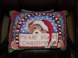 Xmas Christmas Merry Beary Chirstmas Pillow  EUC - $15.01