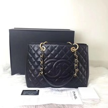 BRAND NEW AUTH CHANEL BLACK QUILTED CAVIAR GST GRAND SHOPPING TOTE BAG RECEIPT