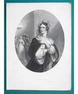 YOUNG MAIDEN Envious Florentine - Antique Print Engraving - $12.60