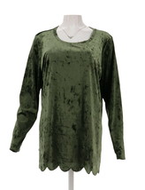 Isaac Mizrahi Velvet Long Slv Scallop Hem Knit Top Green Umber 3X NEW A3... - $28.69