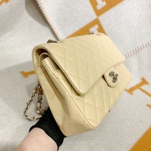 SALE* AUTHENTIC Chanel Quilted Lambskin Classic Medium Beige Double Flap Bag SHW image 4
