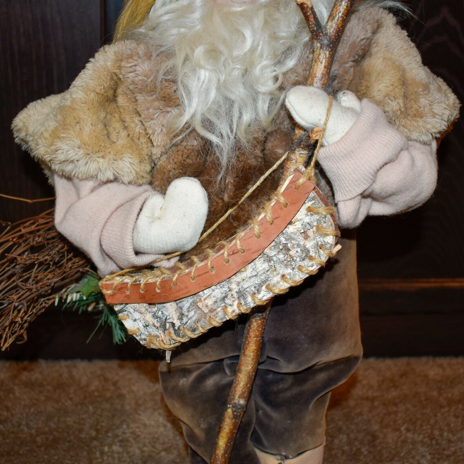 "Handcrafted Woodland Eskimo Santa Claus Father Christmas Signed 28"" Cloth Doll"