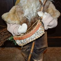 """Handcrafted Woodland Eskimo Santa Claus Father Christmas Signed 28"""" Cloth Doll image 6"""
