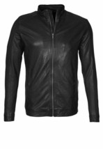 Leather Jacket Mens Black Real Lambskin Motorcycle Jackets Free Shipping... - $109.40