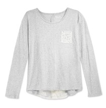 Epic Threads Girls' Lace-Detail Top, Light Gray Heather, Size L - $9.49