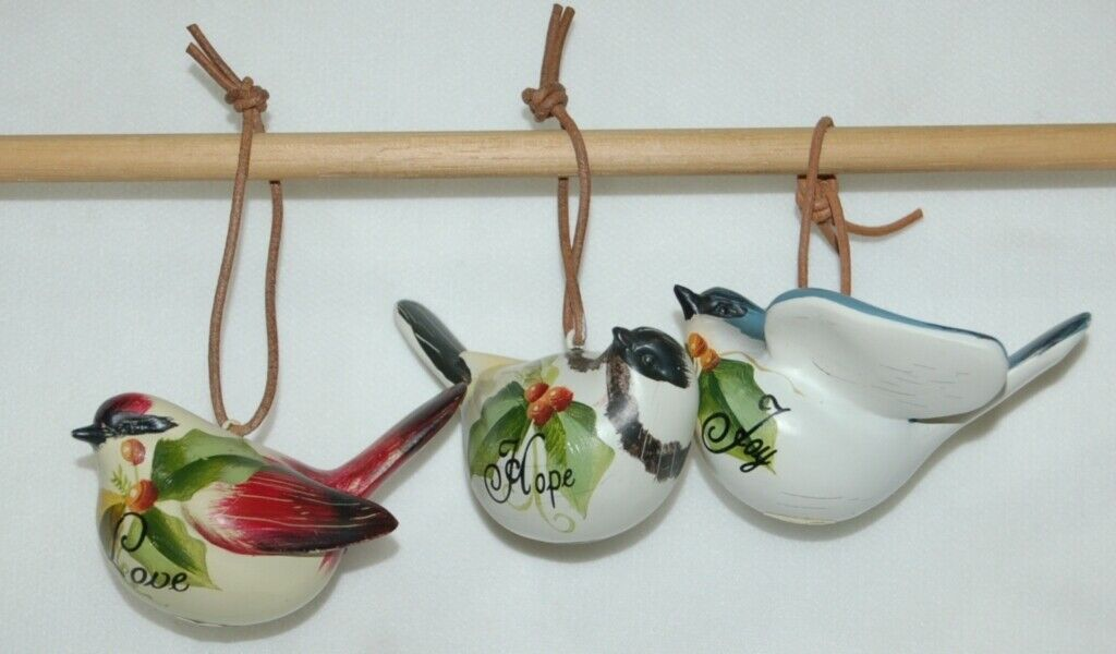 Painted Bird 37300 Joy Hope Love 3 Set Christmas Ornaments