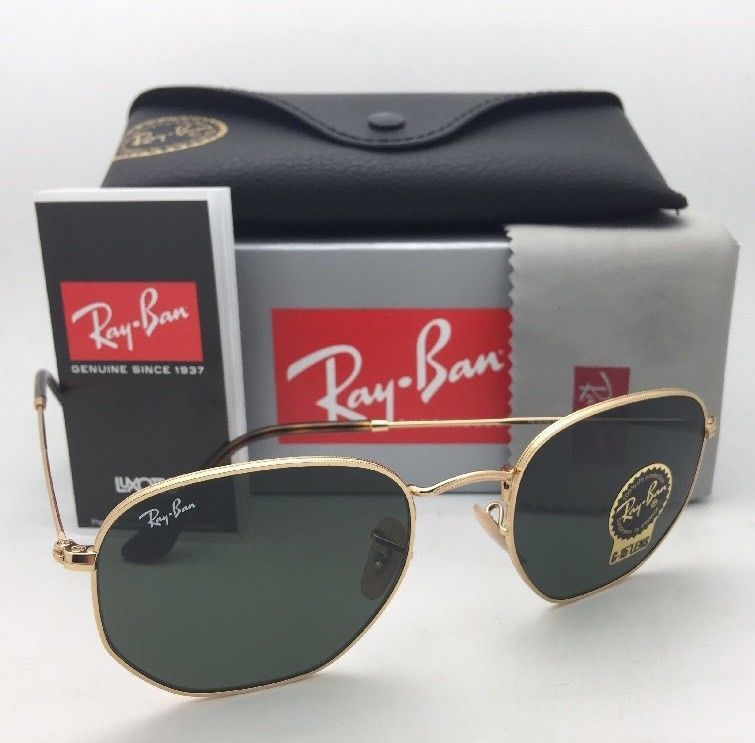New RAN-BAN Sunglasses HEXAGONAL RB 3548-N 001 48-21 140 Gold Frame w/ G15 Green