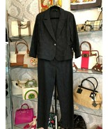 ST. JOHN Black Label Black Jacquard Jacket & Pant Suit Set Sz 14 $2000 - $614.69