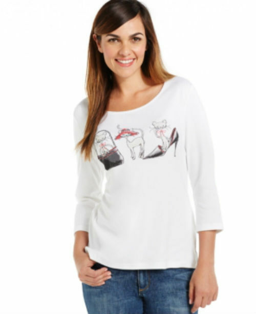 Karen Scott Women's Cat-Print Scoop-Neck Top White Size SMALL