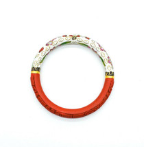 Vintage Chinese Carved Cinnabar Lacquer & Cloisonné Enamel Bangle Bracelet - $78.29